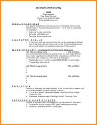 Short Resume Format Cool Short Resume Format Musiccityspiritsandcocktail