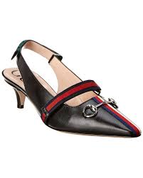 gucci mid heel leather pump
