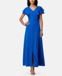 Flutter Sleeve Georgette Maxi Dress In Summer Royal