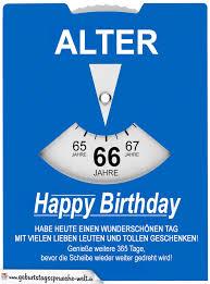 Geburtstagskarte Als Parkscheibe Zum 66 Geburtstag