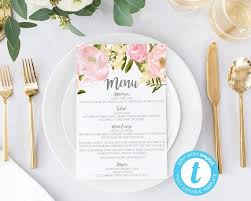 Mother S Day Menu Template Wedding Menus Printable Wedding Menus Wedding Menu