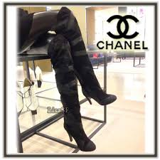 chanel knee high boots. chanel 2017-18aw pin heels elegant style over-the-knee boots by lisasf - buyma chanel knee high
