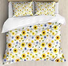 yellow and white duvet cover set botanical arrangement of summer flowers wheat daisy blossoming nature decorative bedding set with pillow shams