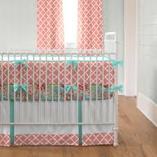 light c and teal lattice crib bedding