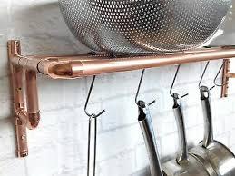 copper wall mounted pot pan rack