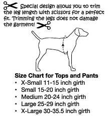 dog breed size chart pants for dogs