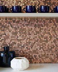 Modwalls Real Penny Mosaics Penny Round Metallic Copper Mosaic Tile Bar  Backsplash Installation