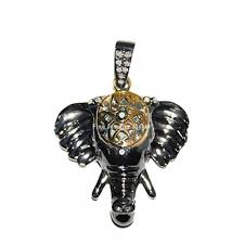 14k gold diamond pave elephant head pendant 925 sterling silver vintage jewelry whole