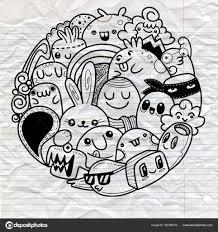 落書きかわいいモンスター背景かわいい月のベクトル イラスト