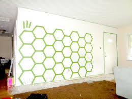 Wall Patterns With Tape Remodelaholic Diy Ombre Painted Hexagon Accent Wall