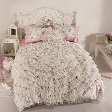 elegant girls white and pink ruffle and lace frilly vintage shabby chic twin full queen size bedding sets