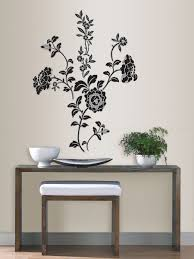 on removable wall art stickers uk with brocade black floral wall art sticker kit