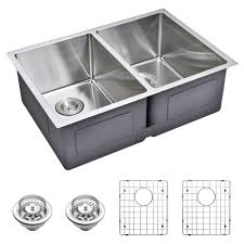 water creation undermount small 27 in 0 hole double bowl kitchen sink with strainer
