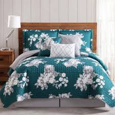 Peony Garden Teal Quilt Sets QS1608TWK6-2500 & Peony Garden Floral Gray and Teal 6 Piece King Quilt Set Adamdwight.com