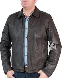 mens classic zip leather jacket vintage brown