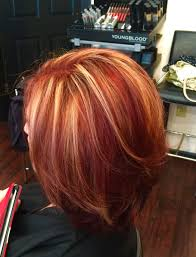 Red Hair With Blonde Highlights By