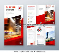 Tri Fold Brochure Design Red Dl Stock Vector Royalty Free