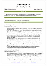 college resume samples admissions representative resume samples qwikresume