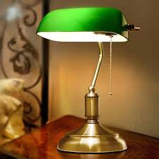 american antique green bank lamp living room retro table lamp study vintage desk lamp old fashion antique office lamp