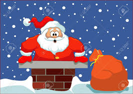 Santa Stuck In The Chimney Simple Christmas Illustration Layered