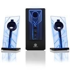 Cool Computer Speakers Blue LED Glow Lights Sub Woofer Versatile