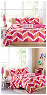 pink orange zig zag chevron teen girl bedding twin xl full queen