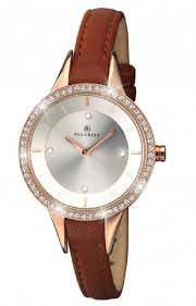 accurist london las crystal set rose gold brown leather strap watch 8043 hollins hollinshead