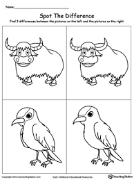 Spot The Difference What Is Missing In The Picture Yak Bird kindergarten drawing printable worksheets myteachingstation com on kindergarten printable worksheets