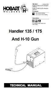 hobart handler 135 175 mig technical & parts manual lb096205 Hobart Beta Mig 250 Welder Parts List at Hobart Beta Mig 250 Wiring Diagram