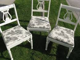 diy vine chairs toile fabric eclectic dining room