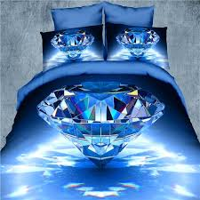 red and blue double duvet cover 3d bedding set 4pcs blue diamond and flower duvet cover