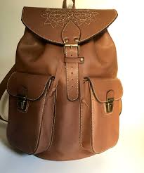 leather backpack full grain leather back pack owl eboidred leather backpack travel bag