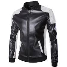 mens pu leather fashion black white stitching motorcycle biker jacket baseball collar coat cod