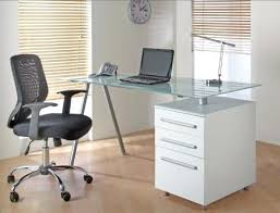 white and glass desk this stunning computer desk offers a clean crisp and striking design the white and glass desk