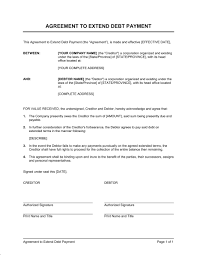 Sample Agreement To Pay Debt Agreement To Extend Debt Payment Template Word Pdf By