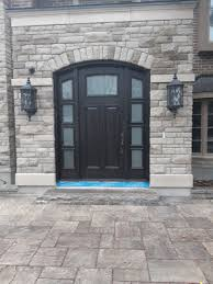 solid wood arched single entry door frosted glass designed