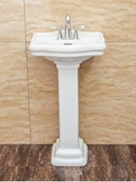 small pedestal sink.  Pedestal Fine Fixtures Roosevelt White Pedestal Sink  Vitreous China Ceramic  Material 4 Inch Faucet For Small