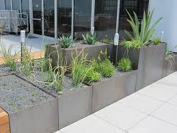 corten steel planters roof terrace 2