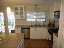 Kitchen:L Shape Kitchen Decoration With White Wood Kitchen Cabinet And Island  L Shape Kitchen