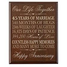 pas 45th wedding anniversary gifts wall plaque for couple 45th anniversary gifts for her gifts for