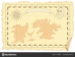 Template Of An Old Sea Map Vector Illustration Stock