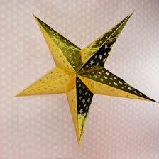 <b>Gold Foil</b> Cut-Out Paper <b>Star</b> Lantern, Hanging (<b>Light</b> Not Included ...
