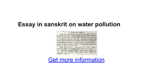 essay in sanskrit on water pollution google docs