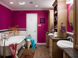 bathroom: Delicate Style Of Charming Girls Bathroom Ideas With Nervous Wall  Decoration Also Hunky Furniture