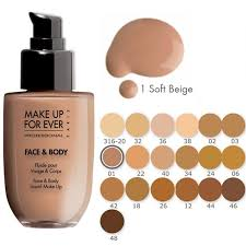 face and body liquid make up