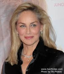 sharon stone s long smoothed out hairstyle
