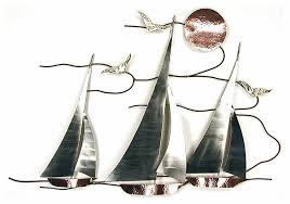 wall art sailboats on the bay metal wall sculpture nautical wall decor