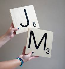 make giant scrabble tile table numbers