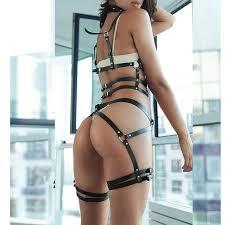 underwear gothic sexy belt garter 90s cupless body harness cage fetish bondage wear teddy erotic lingerie womens