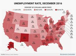 State Unemployment Rate Map December 2016 Business Insider
